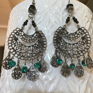 Silver, Turquoise, and Black Chandelier Earrings